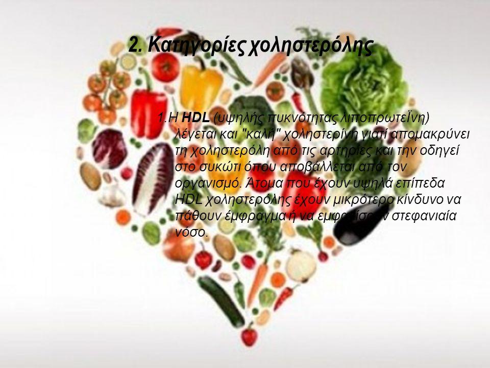 1.Τι είναι η χοληστερόλη; Η χοληστερόλη ή χοληστερίνη είναι ένα λιπίδιο και παράγεται στον οργανισμό μας από το ήπαρ (συκώτι). Διαδραματίζει πολύ σημα