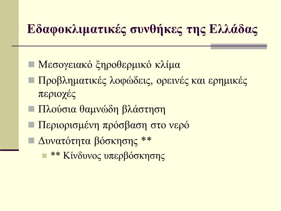 Εδαφοκλιματικές συνθήκες της Ελλάδας  Μεσογειακό ξηροθερμικό κλίμα  Προβληματικές λοφώδεις, ορεινές και ερημικές περιοχές  Πλούσια θαμνώδη βλάστηση