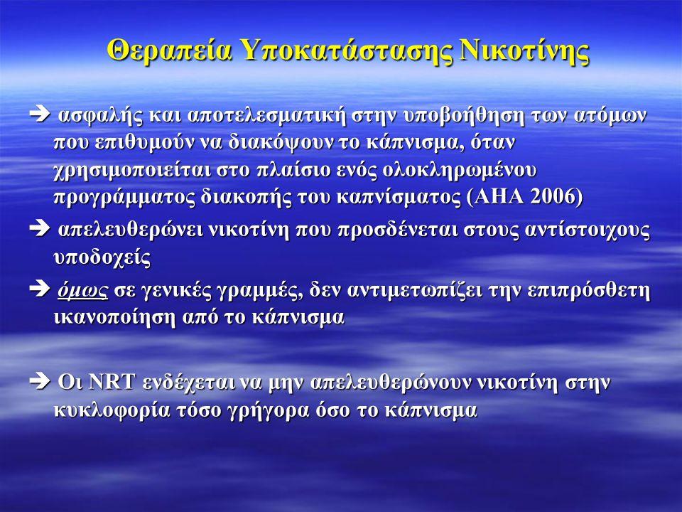 Θεραπεία Υποκατάστασης Νικοτίνης  ασφαλής και αποτελεσματική στην υποβοήθηση των ατόμων που επιθυμούν να διακόψουν το κάπνισμα, όταν χρησιμοποιείται