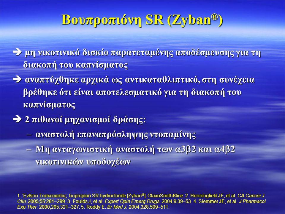 Βουπροπιόνη SR (Zyban ® )  μη νικοτινικό δισκίο παρατεταμένης αποδέσμευσης για τη διακοπή του καπνίσματος  αναπτύχθηκε αρχικά ως αντικαταθλιπτικό, σ