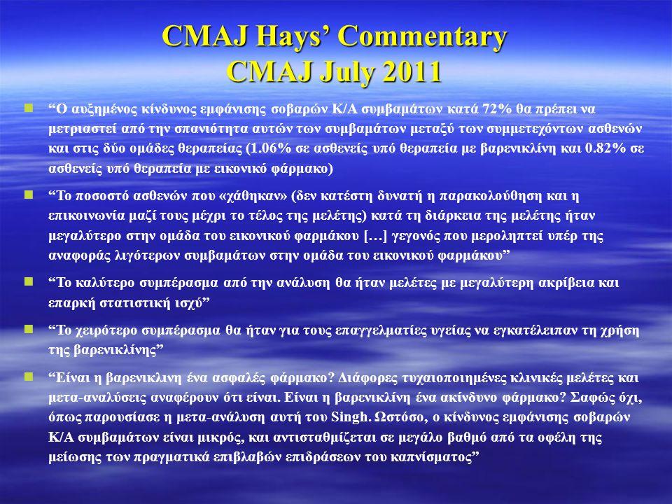 """CMAJ Hays' Commentary CMAJ July 2011  """"Ο αυξημένος κίνδυνος εμφάνισης σοβαρών Κ/Α συμβαμάτων κατά 72% θα πρέπει να μετριαστεί από την σπανιότητα αυτώ"""