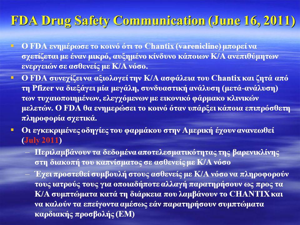 FDA Drug Safety Communication (June 16, 2011)   Ο FDA ενημέρωσε το κοινό ότι το Chantix (varenicline) μπορεί να σχετίζεται με έναν μικρό, αυξημένο κ
