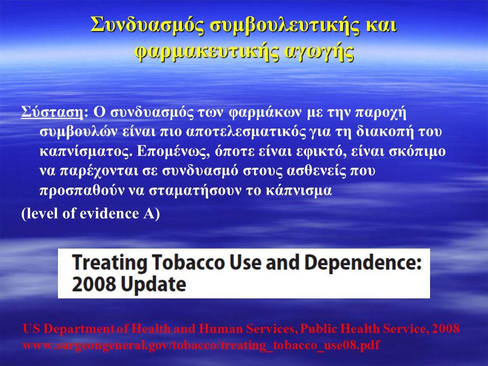 Φαρμακευτική αγωγή για τη διακοπή του καπνίσματος Οι κλινικοί γιατροί θα πρέπει να ενθαρρύνουν όλα τα πρόσωπα που επιχειρούν να διακόψουν το κάπνισμα να χρησιμοποιούν αποτελεσματικά φάρμακα για τη θεραπεία της εξάρτησης από την νικοτίνη εκτός αν υπάρχει αντένδειξη ή αν πρόκειται για ειδικούς πληθυσμούς, για τους οποίους δεν υπάρχουν επαρκή στοιχεία για την αποτελεσματικότητα τους (level of evidence Α) US Department of Health and Human Services, Public Health Service, 2008 www.surgeongeneral.gov/tobacco/treating_tobacco_use08.pdf