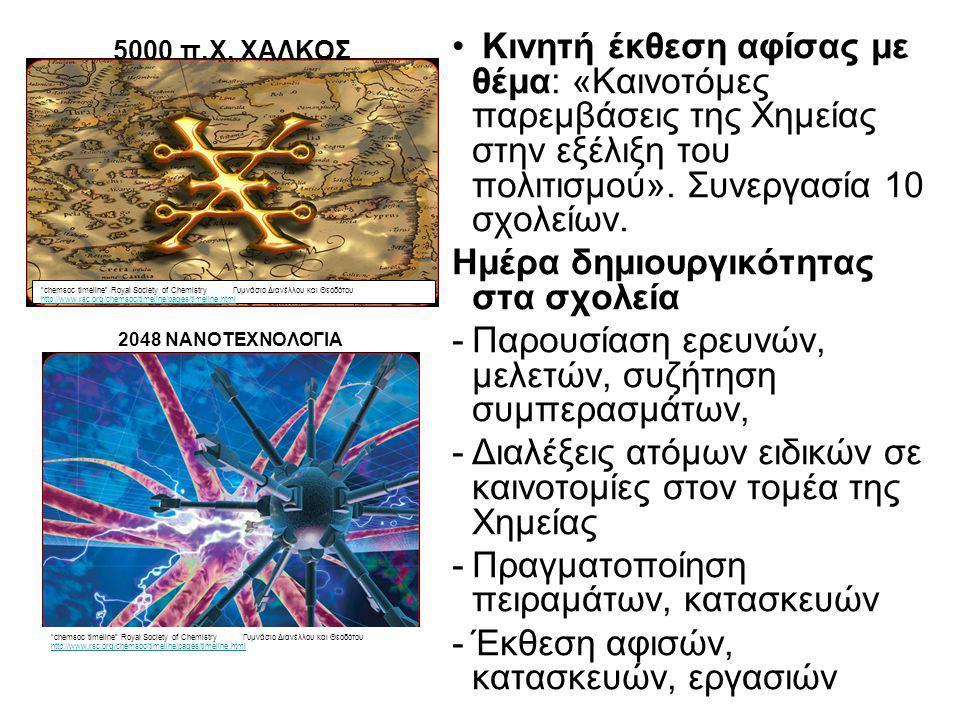 • Κινητή έκθεση αφίσας με θέμα: «Καινοτόμες παρεμβάσεις της Χημείας στην εξέλιξη του πολιτισμού».