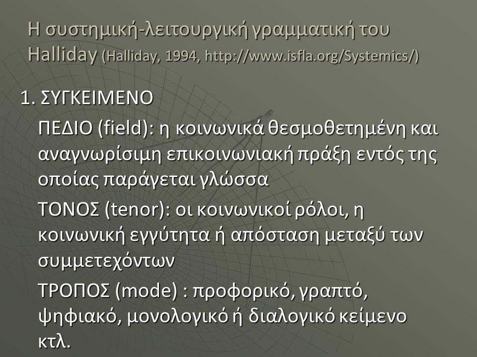 Η συστημική-λειτουργική γραμματική του Halliday (Halliday, 1994, http://www.isfla.org/Systemics/) 1. ΣΥΓΚΕΙΜΕΝΟ ΠΕΔΙΟ (field): η κοινωνικά θεσμοθετημέ