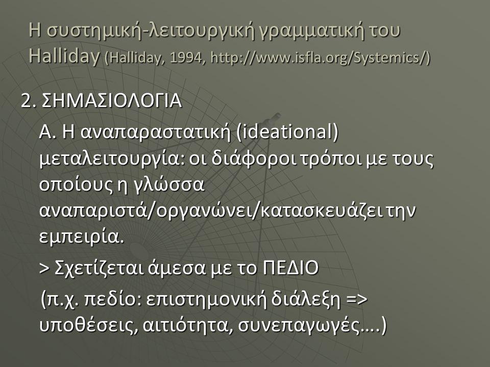 Η συστημική-λειτουργική γραμματική του Halliday (Halliday, 1994, http://www.isfla.org/Systemics/) 2. ΣΗΜΑΣΙΟΛΟΓΙΑ Α. Η αναπαραστατική (ideational) μετ