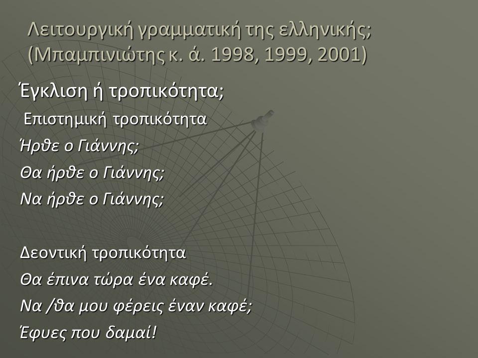 Λειτουργική γραμματική της ελληνικής; (Μπαμπινιώτης κ. ά. 1998, 1999, 2001) Έγκλιση ή τροπικότητα; Επιστημική τροπικότητα Επιστημική τροπικότητα Ήρθε