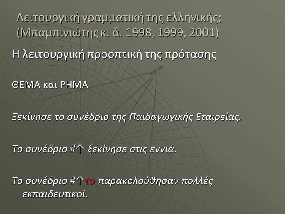 Λειτουργική γραμματική της ελληνικής; (Μπαμπινιώτης κ. ά. 1998, 1999, 2001) Η λειτουργική προοπτική της πρότασης ΘΕΜΑ και ΡΗΜΑ Ξεκίνησε το συνέδριο τη
