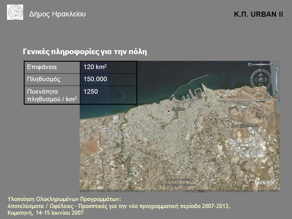 Γενικές πληροφορίες για την πόλη Επιφάνεια120 km 2 Πληθυσμός150.000 Πυκνότητα πληθυσμού / km 2 1250 Κ.Π. URBAN II Δήμος Ηρακλείου Υλοποίηση Ολοκληρωμέ