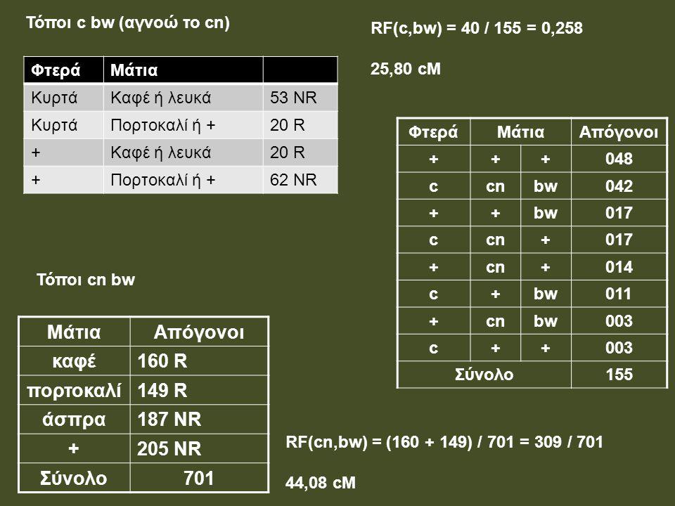 ΜάτιαΑπόγονοι καφέ160 R πορτοκαλί149 R άσπρα187 NR +205 NR Σύνολο701 ΦτεράΜάτια ΚυρτάΚαφέ ή λευκά53 NR ΚυρτάΠορτοκαλί ή +20 R +Καφέ ή λευκά20 R +Πορτο