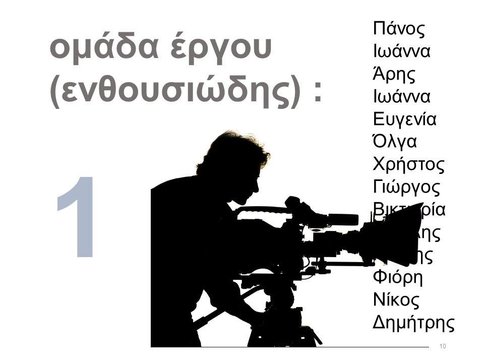 10 ομάδα έργου (ενθουσιώδης) : 1 Πάνος Ιωάννα Άρης Ιωάννα Ευγενία Όλγα Χρήστος Γιώργος Βικτωρία Βασίλης Γιάννης Φιόρη Νίκος Δημήτρης