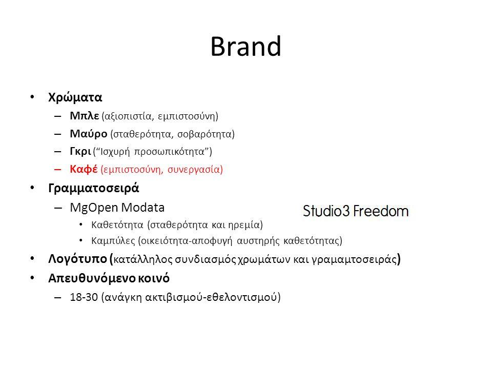 Brand • Χρώματα – Μπλε (αξιοπιστία, εμπιστοσύνη) – Μαύρο (σταθερότητα, σοβαρότητα) – Γκρι ( Ισχυρή προσωπικότητα ) – Καφέ (εμπιστοσύνη, συνεργασία) • Γραμματοσειρά – MgOpen Modata • Καθετότητα (σταθερότητα και ηρεμία) • Καμπύλες (οικειότητα-αποφυγή αυστηρής καθετότητας) • Λογότυπο ( κατάλληλος συνδιασμός χρωμάτων και γραμαμτοσειράς ) • Απευθυνόμενο κοινό – 18-30 (ανάγκη ακτιβισμού-εθελοντισμού)