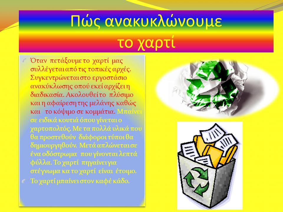 Η ανακύκλωση είναι ένα χρήσιμο πράγμα. Επειδή όταν πετάς ένα πράγμα, πηγαίνει σε ειδικά εργοστάσια και επαναχρησιμοποιείται. Έτσι κάνουμε οικονομία. Α