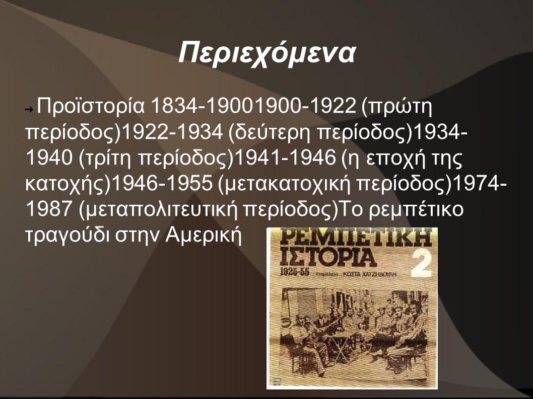 Περιεχόμενα ➔ Προϊστορία 1834-19001900-1922 (πρώτη περίοδος)1922-1934 (δεύτερη περίοδος)1934- 1940 (τρίτη περίοδος)1941-1946 (η εποχή της κατοχής)1946