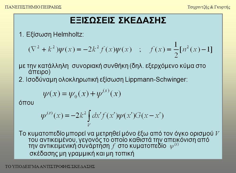 ΕΞΙΣΩΣΕΙΣ ΣΚΕΔΑΣΗΣ 1. Εξίσωση Helmholtz: με την κατάλληλη συνοριακή συνθήκη (δηλ.