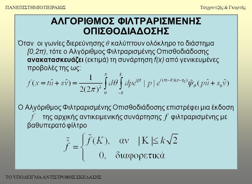 ΑΛΓΟΡΙΘΜΟΣ ΦΙΛΤΡΑΡΙΣΜΕΝΗΣ ΟΠΙΣΘΟΔΙΑΔΟΣΗΣ Όταν οι γωνίες διερεύνησης θ καλύπτουν ολόκληρο το διάστημα [0,2π), τότε ο Αλγόριθμος Φιλτραρισμένης Οπισθοδιάδοσης ανακατασκευάζει (εκτιμά) τη συνάρτηση f(x) από γενικευμένες προβολές της ως: Ο Αλγόριθμος Φιλτραρισμένης Οπισθοδιάδοσης επιστρέφει μια έκδοση της αρχικής αντικειμενικής συνάρτησης f φιλτραρισμένης με βαθυπερατό φίλτρο ΠΑΝΕΠΙΣΤΗΜΙΟ ΠΕΙΡΑΙΩΣΤσιχριντζής & Γκυρτής ΤΟ ΥΠΟΔΕΙΓΜΑ ΑΝΤΙΣΤΡΟΦΗΣ ΣΚΕΔΑΣΗΣ