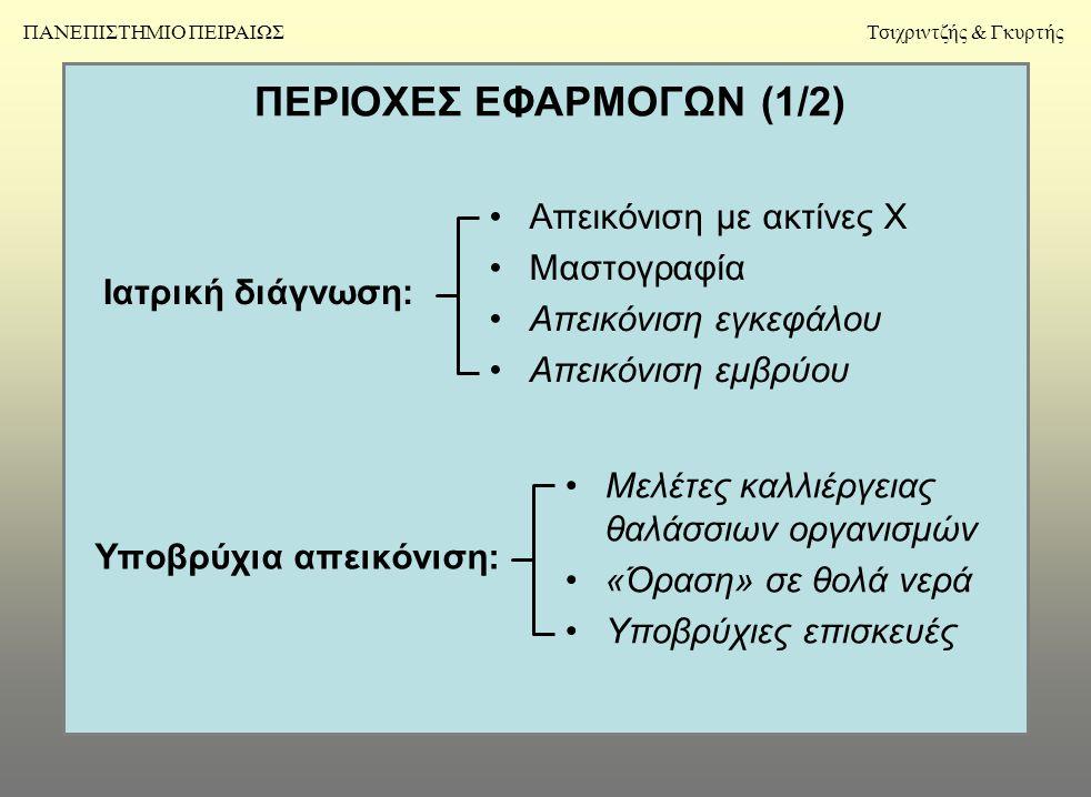ΠΕΡΙΟΧΕΣ ΕΦΑΡΜΟΓΩΝ (1/2) Ιατρική διάγνωση: •Απεικόνιση με ακτίνες Χ •Μαστογραφία •Απεικόνιση εγκεφάλου •Απεικόνιση εμβρύου Υποβρύχια απεικόνιση: •Μελέτες καλλιέργειας θαλάσσιων οργανισμών •«Όραση» σε θολά νερά •Υποβρύχιες επισκευές Τσιχριντζής & ΓκυρτήςΠΑΝΕΠΙΣΤΗΜΙΟ ΠΕΙΡΑΙΩΣ