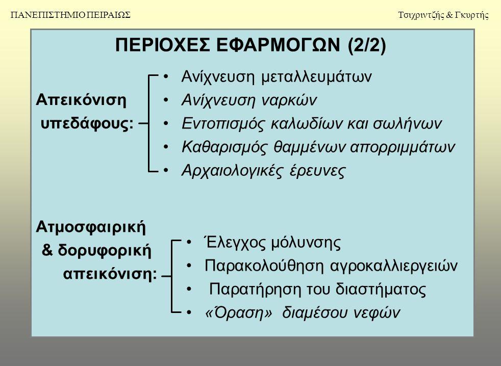 ΠΕΡΙΟΧΕΣ ΕΦΑΡΜΟΓΩΝ (2/2) Απεικόνιση υπεδάφους: •Ανίχνευση μεταλλευμάτων •Ανίχνευση ναρκών •Εντοπισμός καλωδίων και σωλήνων •Καθαρισμός θαμμένων απορριμμάτων •Αρχαιολογικές έρευνες Ατμοσφαιρική & δορυφορική απεικόνιση: •Έλεγχος μόλυνσης •Παρακολούθηση αγροκαλλιεργειών • Παρατήρηση του διαστήματος •«Όραση» διαμέσου νεφών ΠΑΝΕΠΙΣΤΗΜΙΟ ΠΕΙΡΑΙΩΣΤσιχριντζής & Γκυρτής