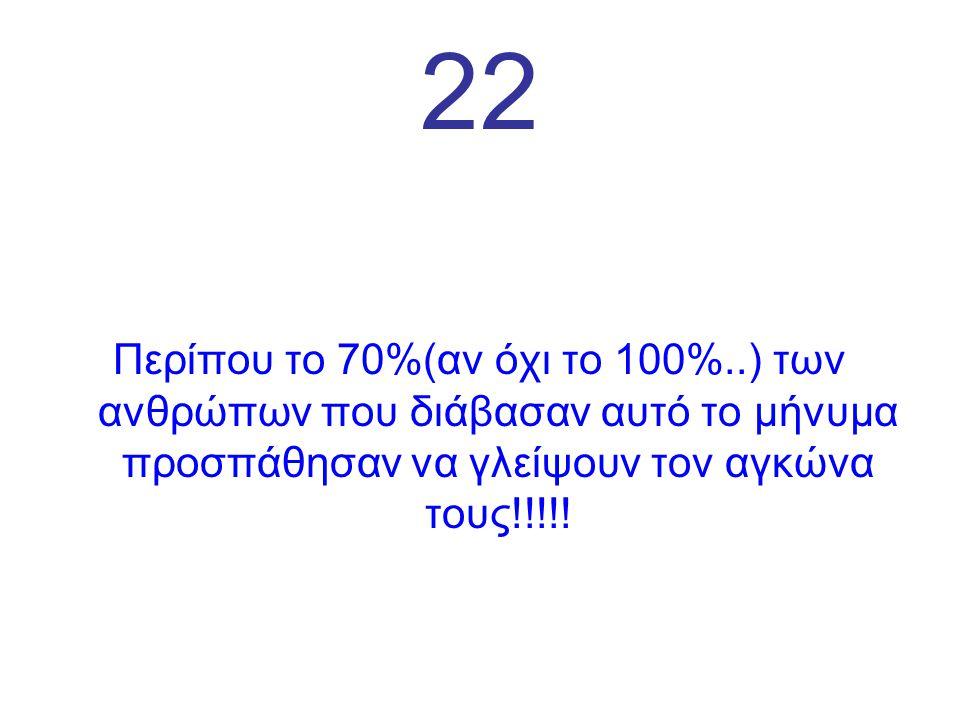 22 Περίπου το 70%(αν όχι το 100%..) των ανθρώπων που διάβασαν αυτό το μήνυμα προσπάθησαν να γλείψουν τον αγκώνα τους!!!!!