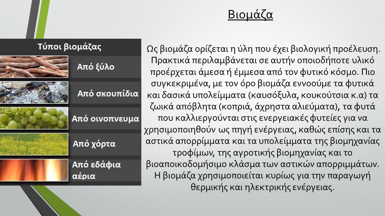 Βιομάζα Ως βιομάζα ορίζεται η ύλη που έχει βιολογική προέλευση.
