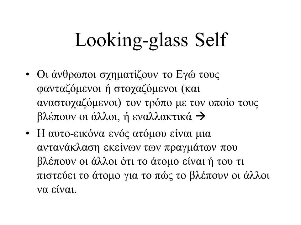 •Οι άνθρωποι σχηματίζουν το Εγώ τους φανταζόμενοι ή στοχαζόμενοι (και αναστοχαζόμενοι) τον τρόπο με τον οποίο τους βλέπουν οι άλλοι, ή εναλλακτικά  •