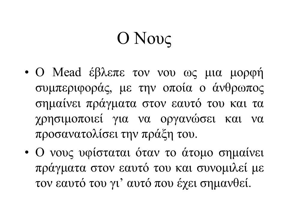 Ο Νους •Ο Mead έβλεπε τον νου ως μια μορφή συμπεριφοράς, με την οποία ο άνθρωπος σημαίνει πράγματα στον εαυτό του και τα χρησιμοποιεί για να οργανώσει