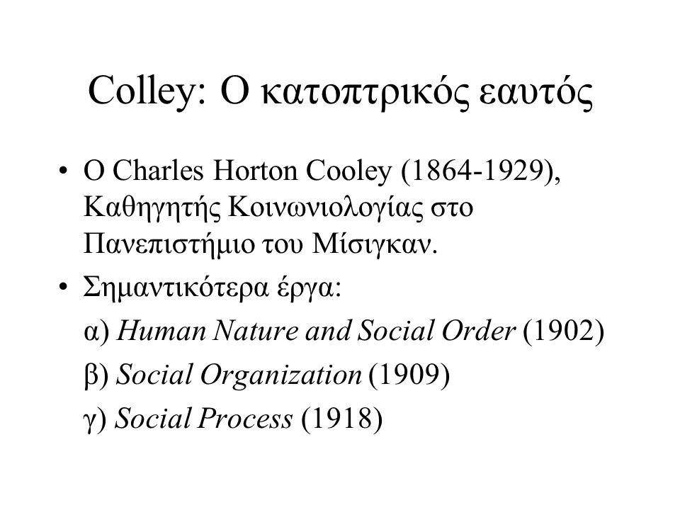 Colley: Ο κατοπτρικός εαυτός •Ο Charles Horton Cooley (1864-1929), Καθηγητής Κοινωνιολογίας στο Πανεπιστήμιο του Μίσιγκαν. •Σημαντικότερα έργα: α) Hum