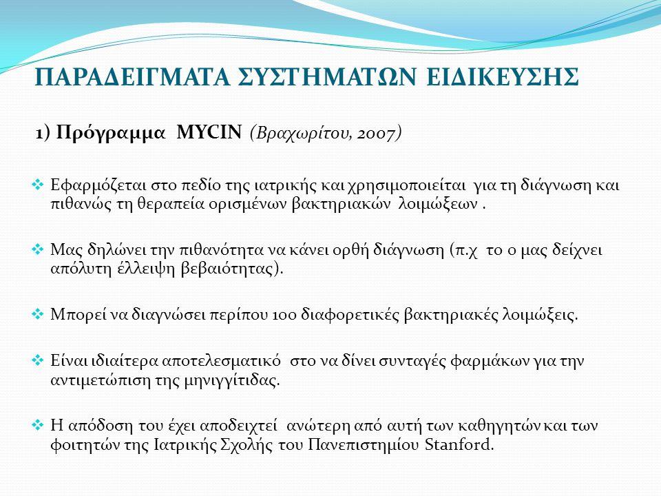 ΠΑΡΑΔΕΙΓΜΑΤΑ ΣΥΣΤΗΜΑΤΩΝ ΕΙΔΙΚΕΥΣΗΣ 1) Πρόγραμμα ΜYCIN (Βραχωρίτου, 2007)  Εφαρμόζεται στο πεδίο της ιατρικής και χρησιμοποιείται για τη διάγνωση και