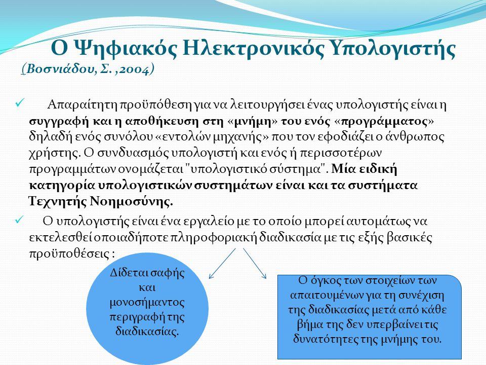 Ο Ψηφιακός Ηλεκτρονικός Υπολογιστής (Βοσνιάδου, Σ.,2004)  Απαραίτητη προϋπόθεση για να λειτουργήσει ένας υπολογιστής είναι η συγγραφή και η αποθήκευσ