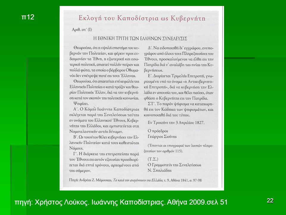 22 π12 πηγή: Χρήστος Λούκος. Ιωάννης Καποδίστριας. Αθήνα 2009.σελ 51