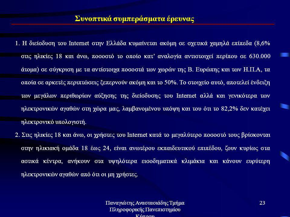 Παναγιώτης Αναστασιάδης Τμήμα Πληροφορικής Πανεπιστημίου Κύπρου 22 Πόσο αισιόδοξος/η είστε για τα επαγγελματικά και προσωπικά σχέδια;