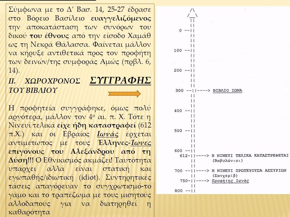Στη μετάφραση των Ο', οι οποίοι ακούγονται στην Ορθόδοξη Λατρεία, ο Ιωνάς τοποθετείται ακριβώς πριν τον Ναούμ (όπου κηρύττεται η καταστροφή της «Άγκυρας») και έτσι προκαλείται ένας διάλογος αναφορικά με τον χαρακτήρα και το τέλος της Νινευί και κάθε κοσμοκράτειρας Υπερδύναμης.