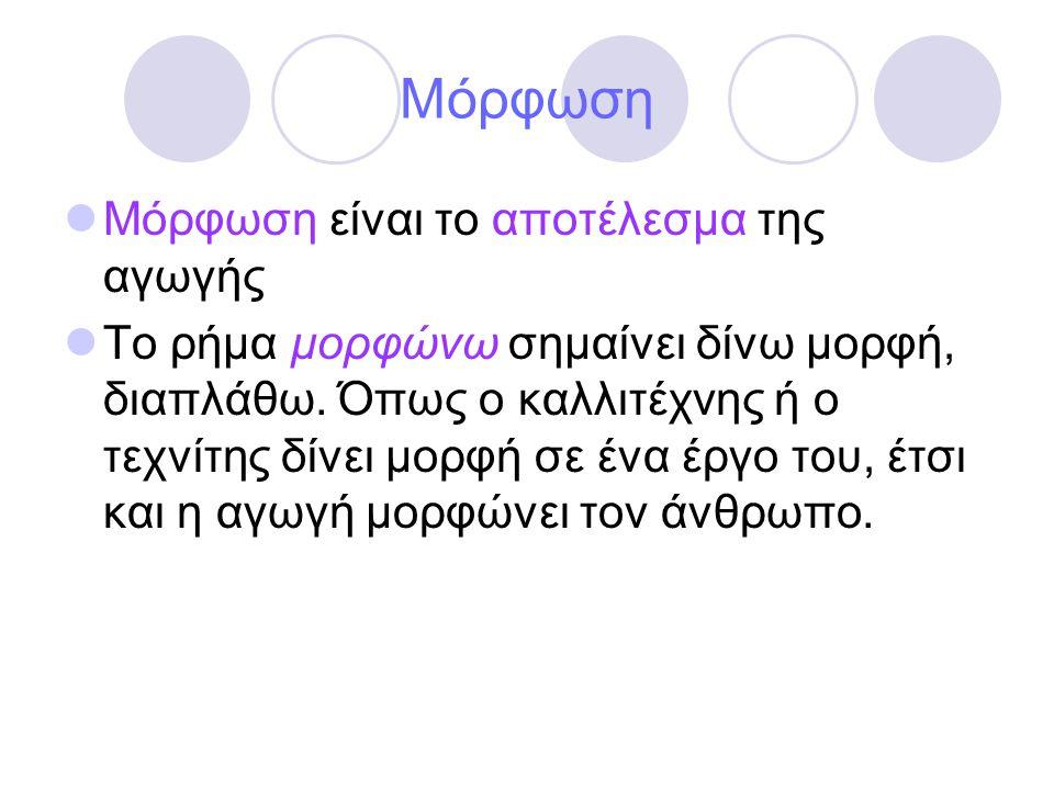 Μόρφωση  Μόρφωση είναι το αποτέλεσμα της αγωγής  Το ρήμα μορφώνω σημαίνει δίνω μορφή, διαπλάθω. Όπως ο καλλιτέχνης ή ο τεχνίτης δίνει μορφή σε ένα έ