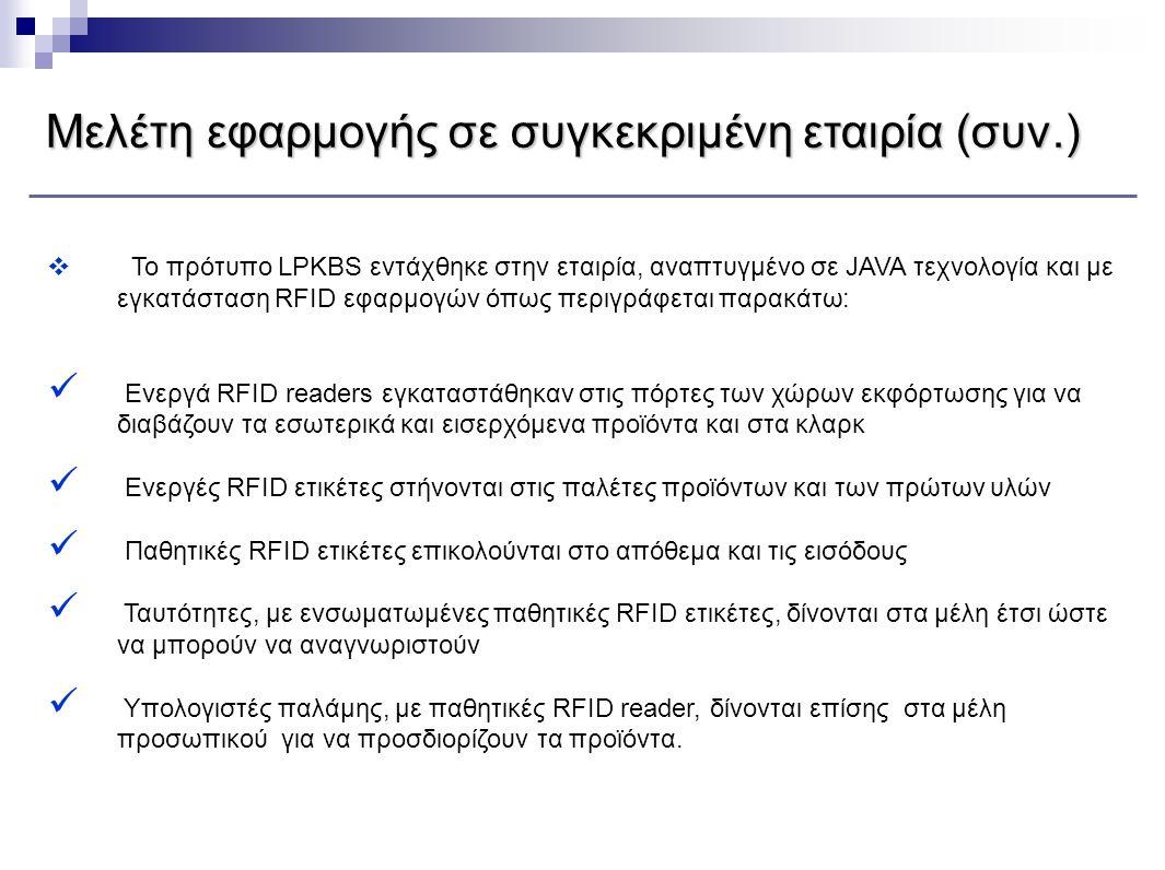  Το πρότυπο LPKBS εντάχθηκε στην εταιρία, αναπτυγμένο σε JAVA τεχνολογία και με εγκατάσταση RFID εφαρμογών όπως περιγράφεται παρακάτω:  Ενεργά RFID