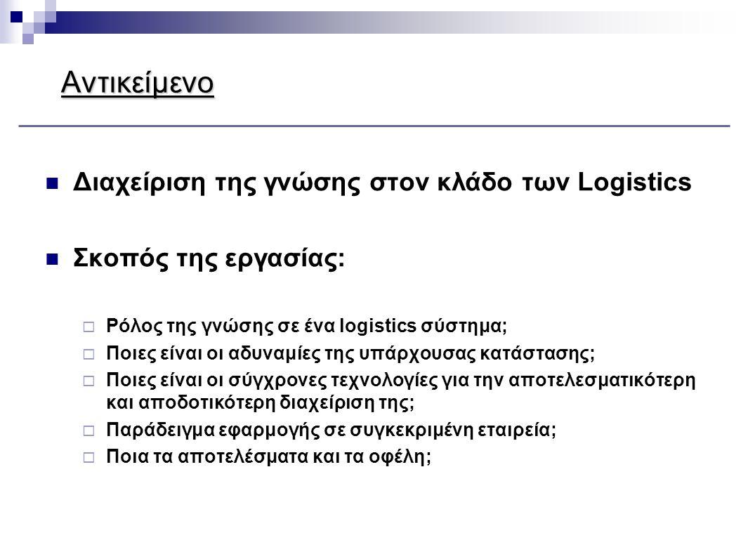 Αντικείμενο  Διαχείριση της γνώσης στον κλάδο των Logistics  Σκοπός της εργασίας:  Ρόλος της γνώσης σε ένα logistics σύστημα;  Ποιες είναι οι αδυν