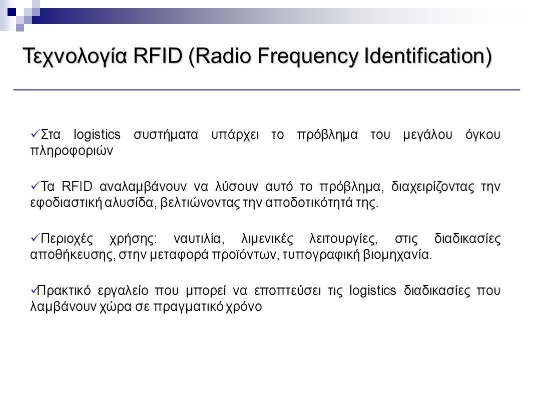ΤεχνολογίαRFID (Radio Frequency Identification) Τεχνολογία RFID (Radio Frequency Identification)  Στα logistics συστήματα υπάρχει το πρόβλημα του μεγ