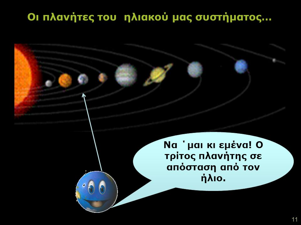 …ανάμεσα σ΄ αυτούς τους πλανήτες κι ένας πλανήτης πολύ καυτός! Γεμάτος πυρακτωμένη λάβα! Η ΓΗ ΜΑΣ! Τι χαριτωμένο μωρό ήμουν κάποτε !