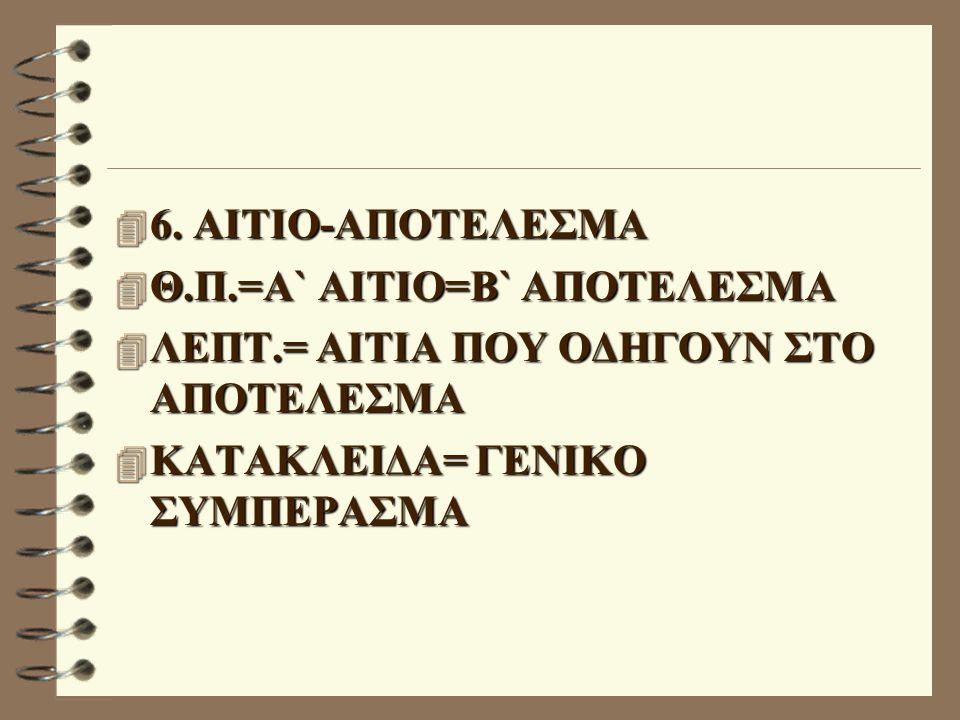 4 6. ΑΙΤΙΟ-ΑΠΟΤΕΛΕΣΜΑ 4 Θ.Π.=Α` ΑΙΤΙΟ=Β` ΑΠΟΤΕΛΕΣΜΑ 4 ΛΕΠΤ.= ΑΙΤΙΑ ΠΟΥ ΟΔΗΓΟΥΝ ΣΤΟ ΑΠΟΤΕΛΕΣΜΑ 4 ΚΑΤΑΚΛΕΙΔΑ= ΓΕΝΙΚΟ ΣΥΜΠΕΡΑΣΜΑ