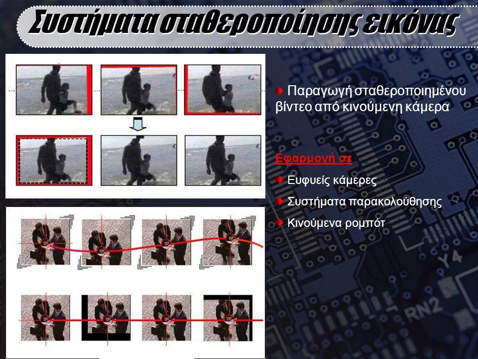 Εφαρμογή σε Ευφυείς κάμερες Συστήματα παρακολούθησης Κινούμενα ρομπότ Συστήματα σταθεροποίησης εικόνας Παραγωγή σταθεροποιημένου βίντεο από κινούμενη