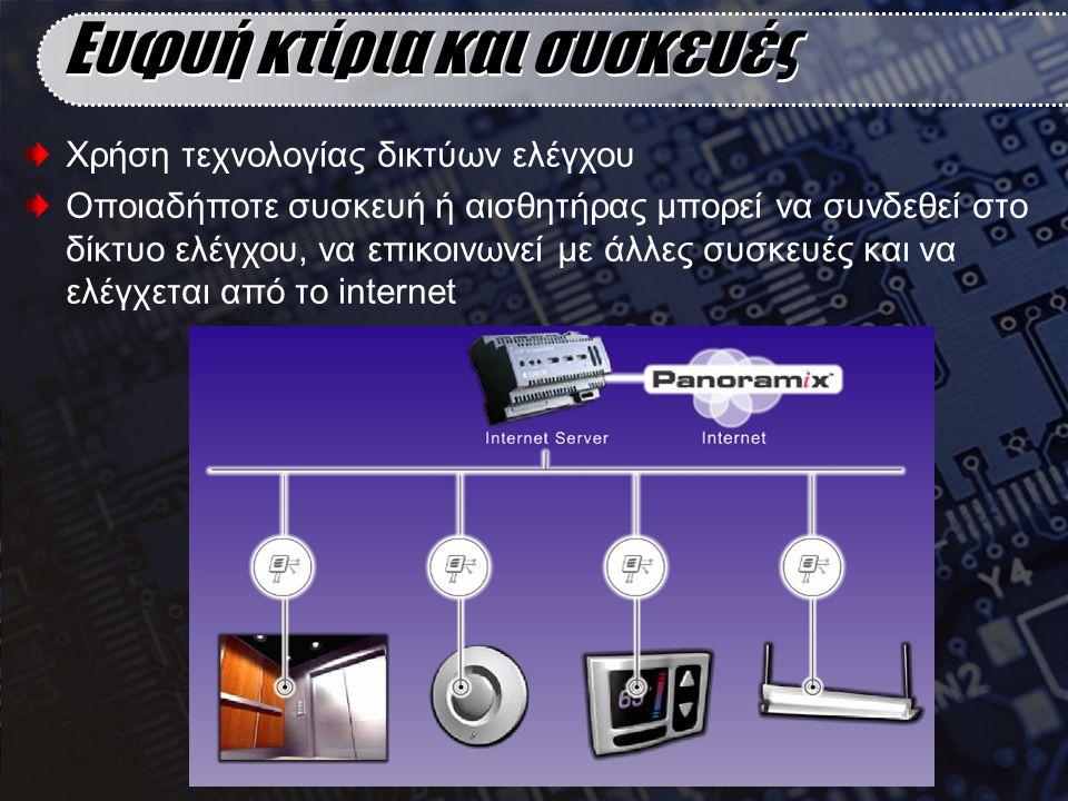 Ευφυή κτίρια και συσκευές Χρήση τεχνολογίας δικτύων ελέγχου Οποιαδήποτε συσκευή ή αισθητήρας μπορεί να συνδεθεί στο δίκτυο ελέγχου, να επικοινωνεί με