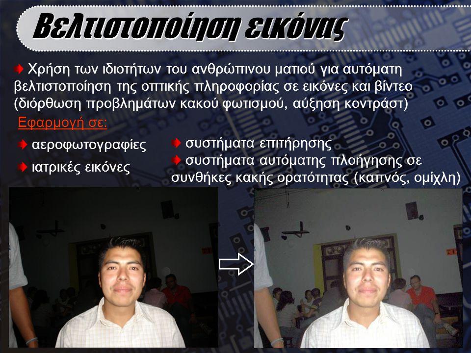 Χρήση των ιδιοτήτων του ανθρώπινου ματιού για αυτόματη βελτιστοποίηση της οπτικής πληροφορίας σε εικόνες και βίντεο (διόρθωση προβλημάτων κακού φωτισμ