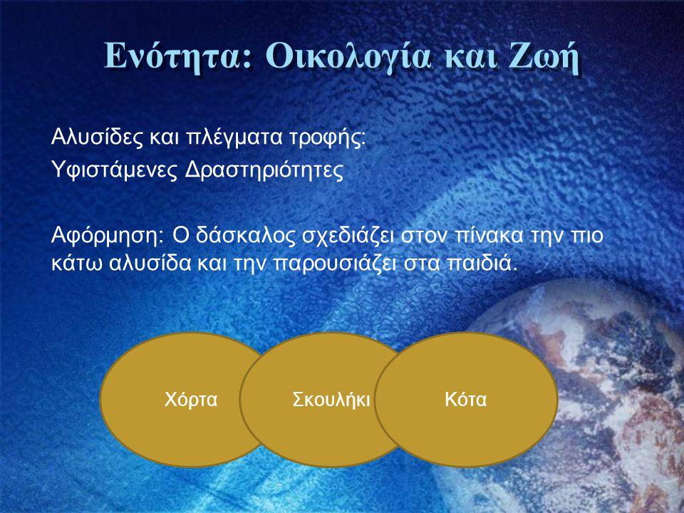 Ενότητα: Οικολογία και Ζωή Αλυσίδες και πλέγματα τροφής: Υφιστάμενες Δραστηριότητες Αφόρμηση: Ο δάσκαλος σχεδιάζει στον πίνακα την πιο κάτω αλυσίδα κα