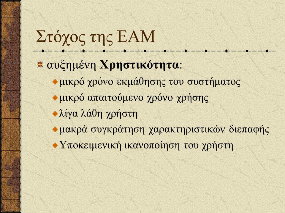 Στόχος της ΕΑΜ αυξημένη Χρηστικότητα: μικρό χρόνο εκμάθησης του συστήματος μικρό απαιτούμενο χρόνο χρήσης λίγα λάθη χρήστη μακρά συγκράτηση χαρακτηρισ