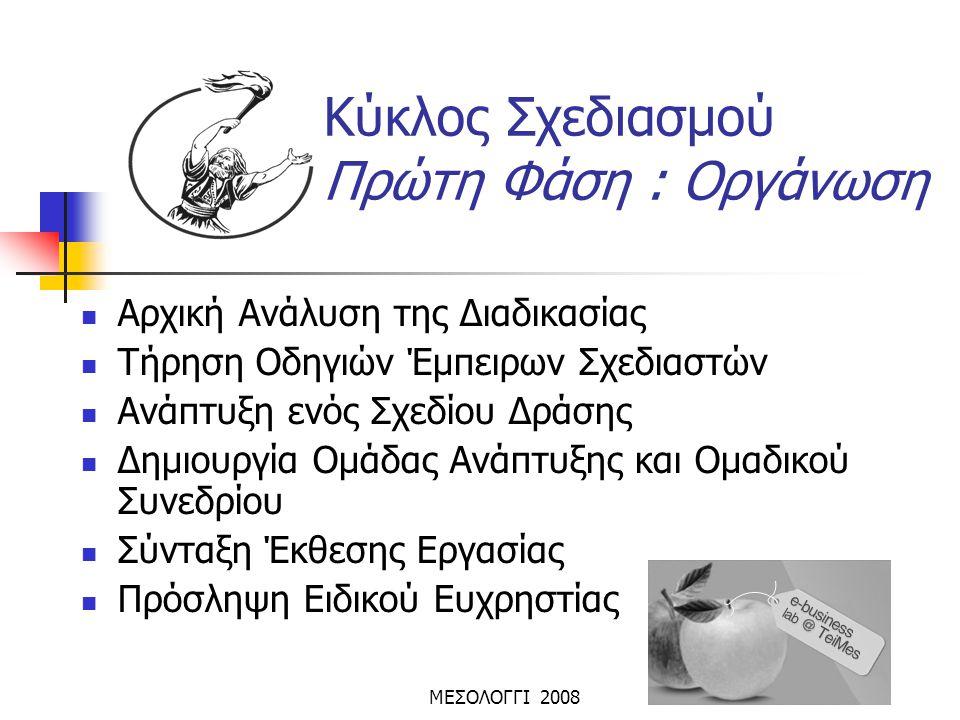 ΜΕΣΟΛΟΓΓΙ 2008 Κύκλος Σχεδιασμού Πρώτη Φάση : Οργάνωση  Αρχική Ανάλυση της Διαδικασίας  Τήρηση Οδηγιών Έμπειρων Σχεδιαστών  Ανάπτυξη ενός Σχεδίου Δ