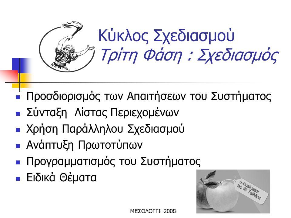 ΜΕΣΟΛΟΓΓΙ 2008 Κύκλος Σχεδιασμού Τρίτη Φάση : Σχεδιασμός  Προσδιορισμός των Απαιτήσεων του Συστήματος  Σύνταξη Λίστας Περιεχομένων  Χρήση Παράλληλο