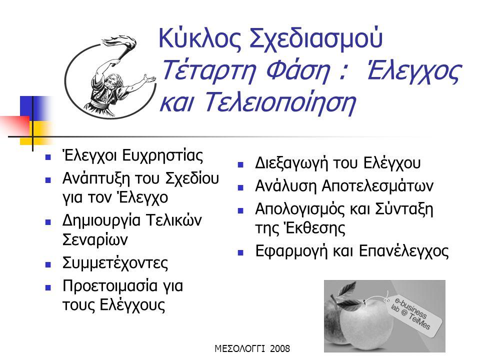 ΜΕΣΟΛΟΓΓΙ 2008  Έλεγχοι Ευχρηστίας  Ανάπτυξη του Σχεδίου για τον Έλεγχο  Δημιουργία Τελικών Σεναρίων  Συμμετέχοντες  Προετοιμασία για τους Ελέγχο