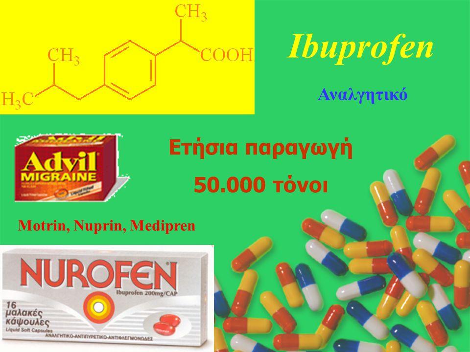 Motrin, Nuprin, Medipren Ibuprofen Αναλγητικό Ετήσια παραγωγή 50.000 τόνοι