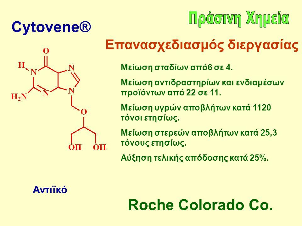 Cytovene® Αντιϊκό Επανασχεδιασμός διεργασίας Μείωση σταδίων από6 σε 4. Μείωση αντιδραστηρίων και ενδιαμέσων προϊόντων από 22 σε 11. Μείωση υγρών αποβλ
