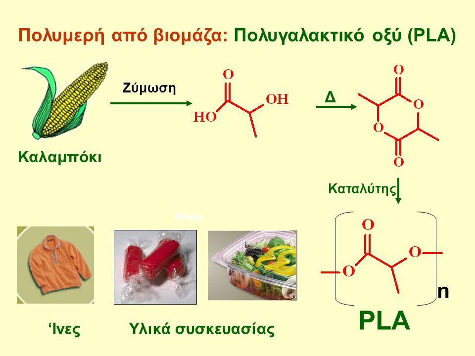 Πολυμερή από βιομάζα: Πολυγαλακτικό οξύ (PLA) Films n PLA 'Ινες Υλικά συσκευασίας Ζύμωση Δ Καταλύτης Καλαμπόκι