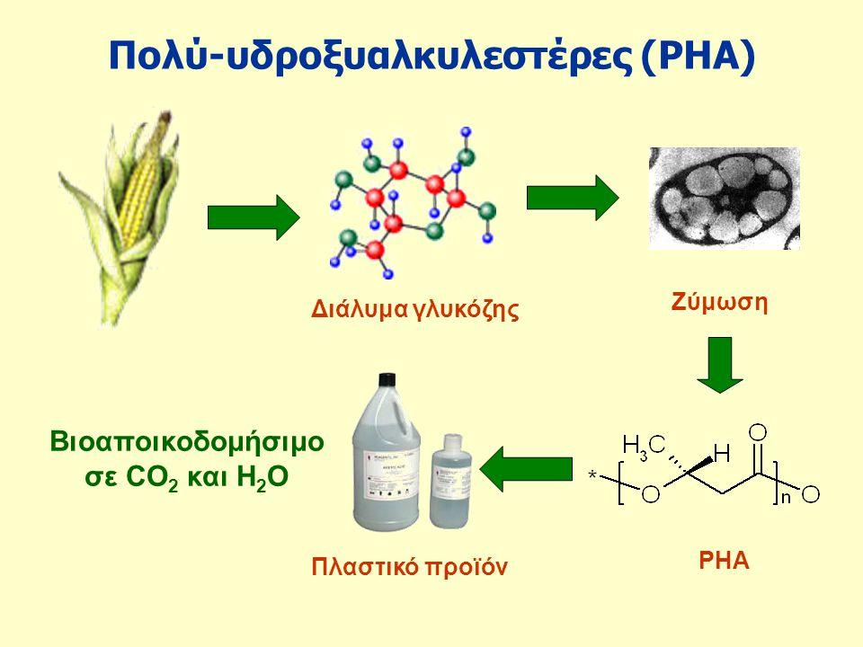 Πολύ-υδροξυαλκυλεστέρες (PHA) Διάλυμα γλυκόζης PHA Πλαστικό προϊόν Ζύμωση Βιοαποικοδομήσιμο σε CO 2 και H 2 O
